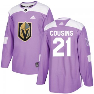 Men's Adidas Vegas Golden Knights Nick Cousins Purple ized Fights Cancer Practice Jersey - Authentic