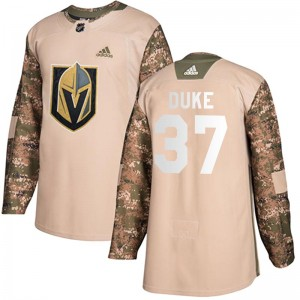 Youth Adidas Vegas Golden Knights Reid Duke Gold Camo Veterans Day Practice Jersey - Authentic