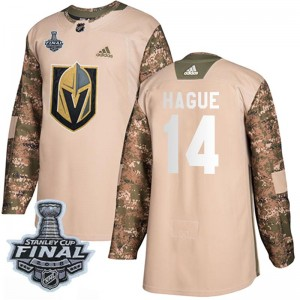 Youth Adidas Vegas Golden Knights Nicolas Hague Gold Camo Veterans Day Practice 2018 Stanley Cup Final Patch Jersey - Authentic