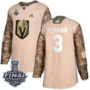 Men's Adidas Vegas Golden Knights Brayden McNabb Gold Camo Veterans Day Practice 2018 Stanley Cup Final Patch Jersey - Authentic