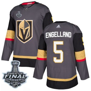 Youth Adidas Vegas Golden Knights Deryk Engelland Gold Gray Home 2018 Stanley Cup Final Patch Jersey - Authentic