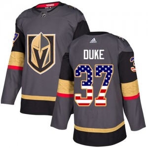 Youth Adidas Vegas Golden Knights Reid Duke Gold Gray USA Flag Fashion Jersey - Authentic
